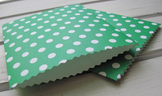 Handmade Mini Paper Bags -  Green with White Polka Dots -  Set of 10