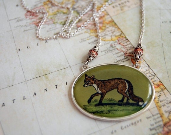 vintage fox necklace- resin cabochon- silver plated chain- copper czech glass- statement