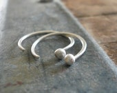 Polka Earrings - Handmade. Hand forged. Fine Silver Tiny Earrings. Choice of brushed/oxidized/shiny finishes