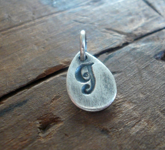 Tear Drop Initial Pendant - Handmade. Personalized. Oxidized Fine Silver