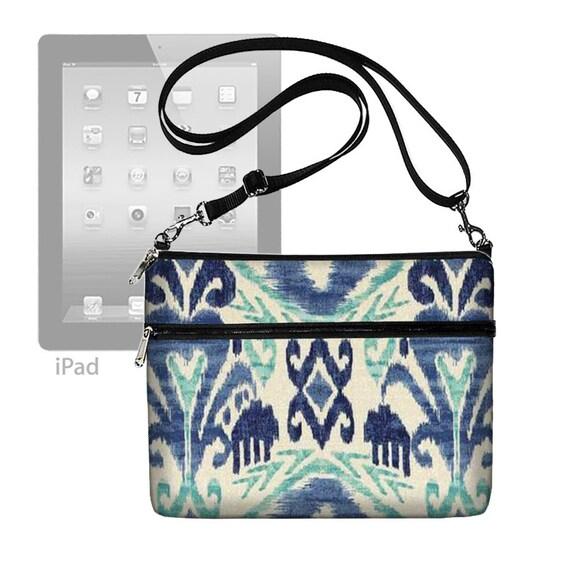 iPad Bag iPad Air Case iPad Cover iPad Sleeve Ipad 4 3 2 1 adjustable shoulder strap Ikat Blue (RTS)