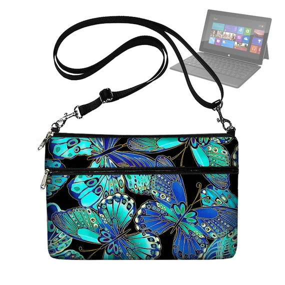 CLEARANCE Butterfly Laptop Bag for Microsoft Surface Tablet  Womens Laptop Case with Strap Pocket Zipper blue (RTS)