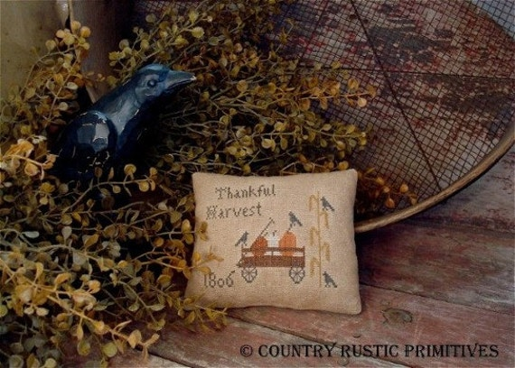 Primitive Thankful Harvest Pillow Tuck Cross Stitch E Pattern PDF