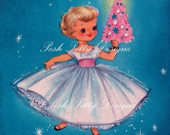 A Little Girl and Her Christmas Tree 1950s Vintage Digital Download Printable Image (328)