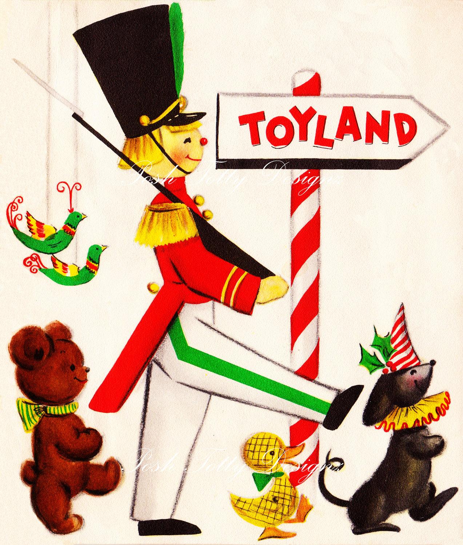 Christmas Toys Cards : Vintage toyland greetings card digital by poshtottydesignz