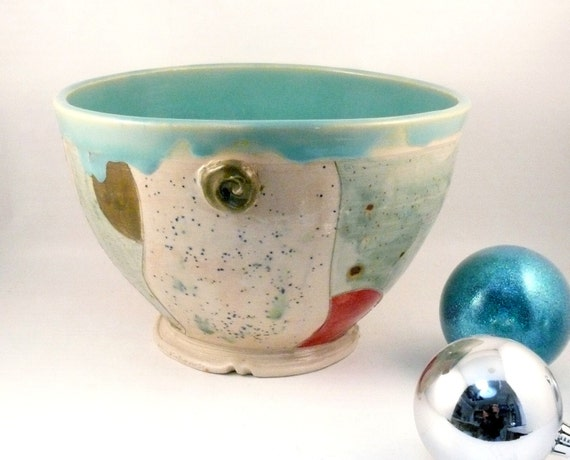 Robin's Egg Blue Ceramic Serving Bowl holds 8 cups - carved and sculpted kitchen bowl    for the home chef