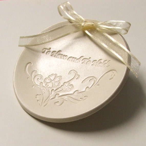 Ring Bearer Pillow, Ceramic wedding ring holder, Wedding Ring Plate, Hand Built Porcelain,To Have and to Hold