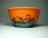 large bowl tandem bicycle (creamsicle/storm). Made to Order.