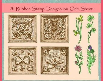 Celtic Garden Unmounted Rubber Stamp Set