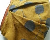 Eucalyptus Clutch, Hand Printed Linen, Zipper Pouch,