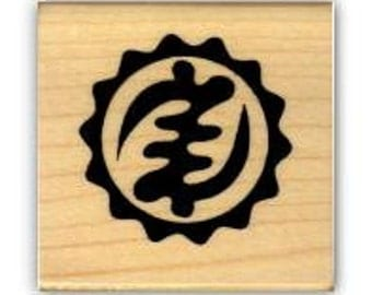 GOD ADINKRA, Nyame ye Ohene African mounted rubber stamp, God is King, tribal, Sweet Grass Stamps No.17