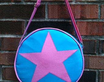 Ramona Flowers from Scott Pilgrim Star bag, subspace suitcase with adjustable strap, bright pink, aqua blue