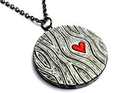 Black and White Wood Grain Faux Bois Necklace with a Red Heart Necklace - Wood You Love Me