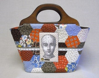 Extra Large Bucket Tote - Hexagon Prarie Quilt With Wooden Handles - Think