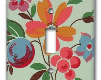 Single Switch Plate 1940's Vintage Wallpaper Fruit and Floral