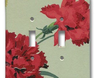 Red Carnation Flowers on Pale Green Double Toggle Switch Plate 1940's Vintage Wallpaper