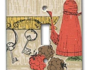 Coffee pot Tea Single Switch Plate 1960's Vintage Wallpaper Kitschy Kitchen