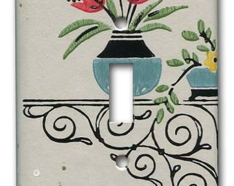 Vase and Urn Floral 1940's Vintage Wallpaper Switch Plate