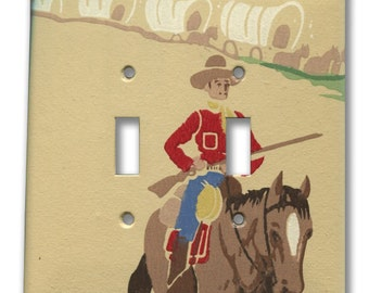 Cowboy on Horse with Rifle and Wagon Train Double Switch Plate 1950's Vintage Wallpaper