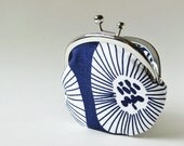 coin purse - white flowers on navy blue
