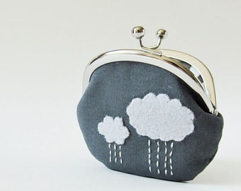 Coin purse rain clouds on charcoal gray kiss lock coin purse change purse storm clouds grey frame pouch