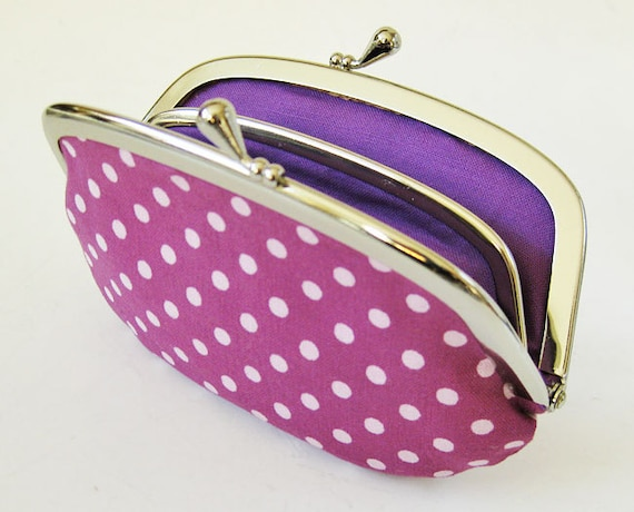 Coin purse / wallet - Lavender dots on purple