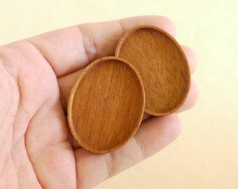 Top quality finished hardwood bezels - Mahogany - 30 x 40 mm cavity - (A2-M) - Set of 2