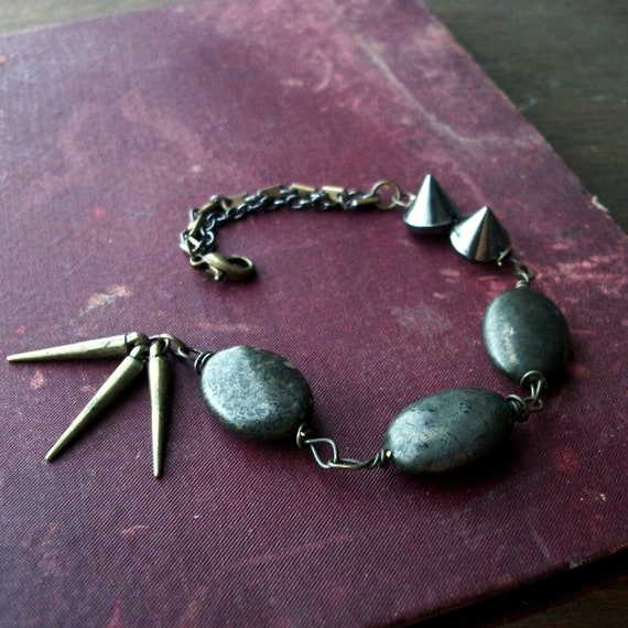 reduced - spiked mixed metal pyrite bracelet brass and gunmetal