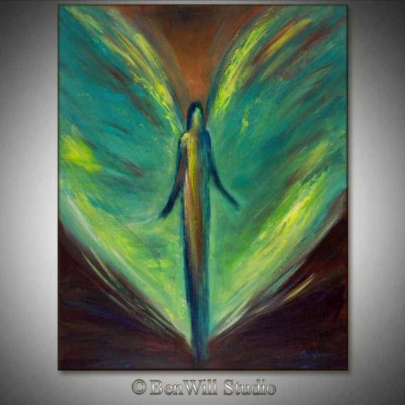 Angel Painting ORIGINAL Modern Abstract Inspirational Art VISION of ANGELS - Angel Oil Painting - Hope 30x24 by BenWill