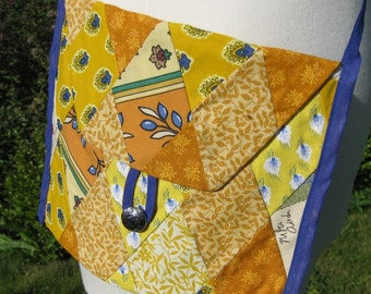 Golden Cotton Patchwork Purse