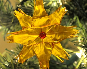 Gold Origami Crane Star Christmas Tree Ornament with Red Rhinestone Center Holiday Decoration