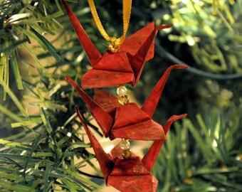 Burgundy Origami Crane Trio Christmas Tree Ornament -- Gold Japanese Love Kanji Holiday Decoration