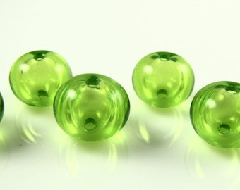 Lime Mini Hollow Lampwork Glass Bead Set (6)