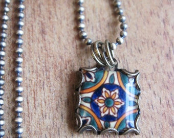 Ceramic tile design necklace, Morocco, Portugal, Spain, Mexico, Mediterranean, pottery design, Folk art, hand made jewelry