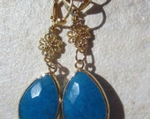 Aqua Blue Jade Drop Earrings. Bezel Set. Gold.