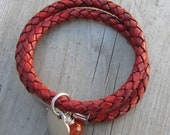 Rust Braided Leather Cord Bracelet. Double Wrap. Magnetic Closure. Autumn Fashons. Fall Trends. - LeanneDesigns