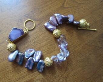 Lilac Druzy Bracelet with Freshwater Pearls, Quartz. Vermeil.