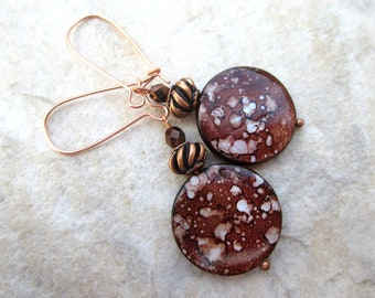 SALE  Copper Brown Mother of Pearl Earrings