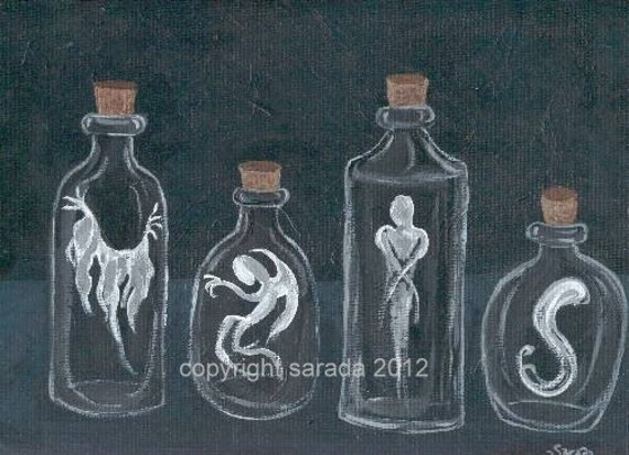 Halloween ghost bottles gothic alchemy magic art reproduction 5 x 7 print horror art spooky spirit black and white mad scientist witch