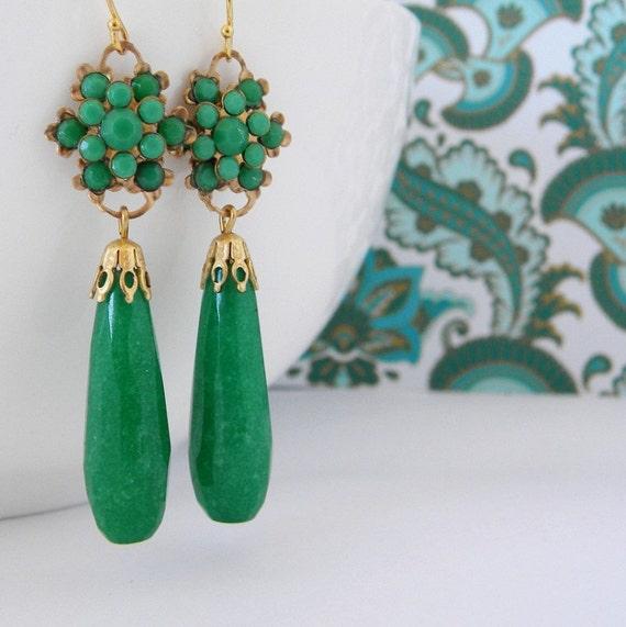 Jade Green Vintage Rhinestone Long Art Deco Earrings