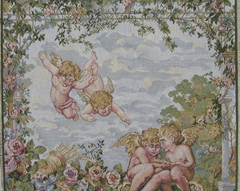 Italian Tapestry Fabric Panel ANGELS 20x20
