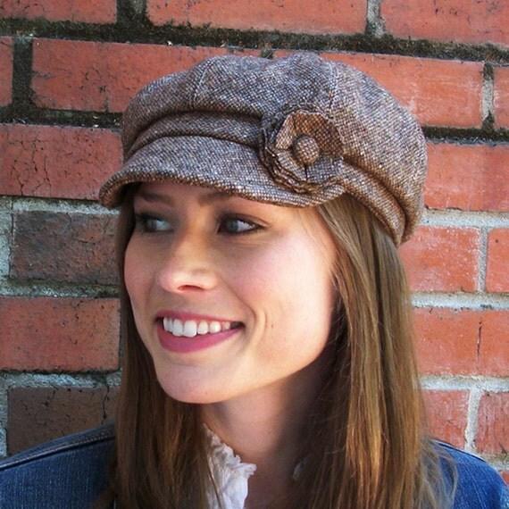 Womens Hat - Newsboy Hat - Brown Wool Tweed Cap