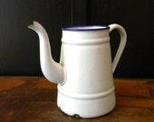 Vintage French country enamel teapot