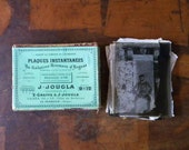 Antique French photo negatives on glass