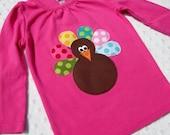 5T- Polka Dot Thanksgiving Turkey- Pink Tee/ shirt- longsleeve