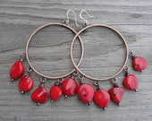 Poppy Red Coral Copper Hoop Earrings