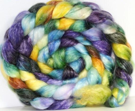 Hand dyed SW Merino-Tencel Roving -- 6.4  oz--