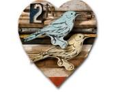 Lovebird Wooden Heart Assemblage