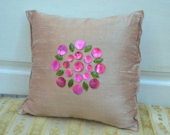 Pillow, Shantung Pillow, Shantung, Appliqué Pillow, Shantung Silk Pillow, Accent Pillow, Small Pillow, Decorative Pillow, Silk Pillow,Pillow