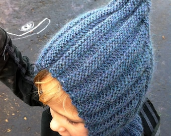 Knit Child Balaclava Hoodie Hat - BLUEBEE, Waldorf inspired, also available in BLUE